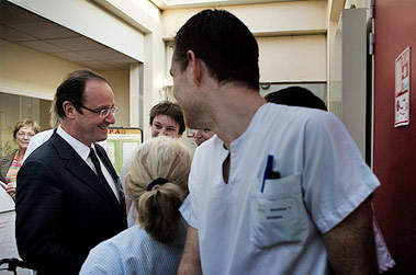 francois hollande 2012 hopital - Déplacement à Valence. Photo Benjamin Géminel