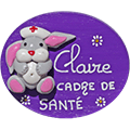 Badge en relief Lapin Infirmier